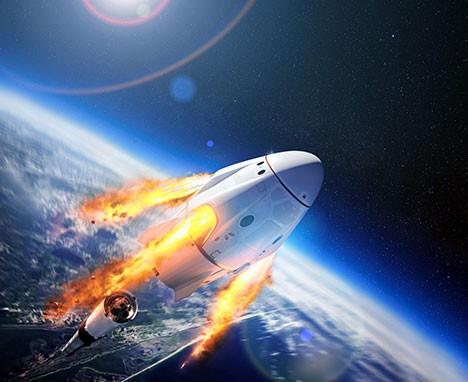 Blog Visionär & Unternehmer Elon Musk Rakete im Weltall 468x382px